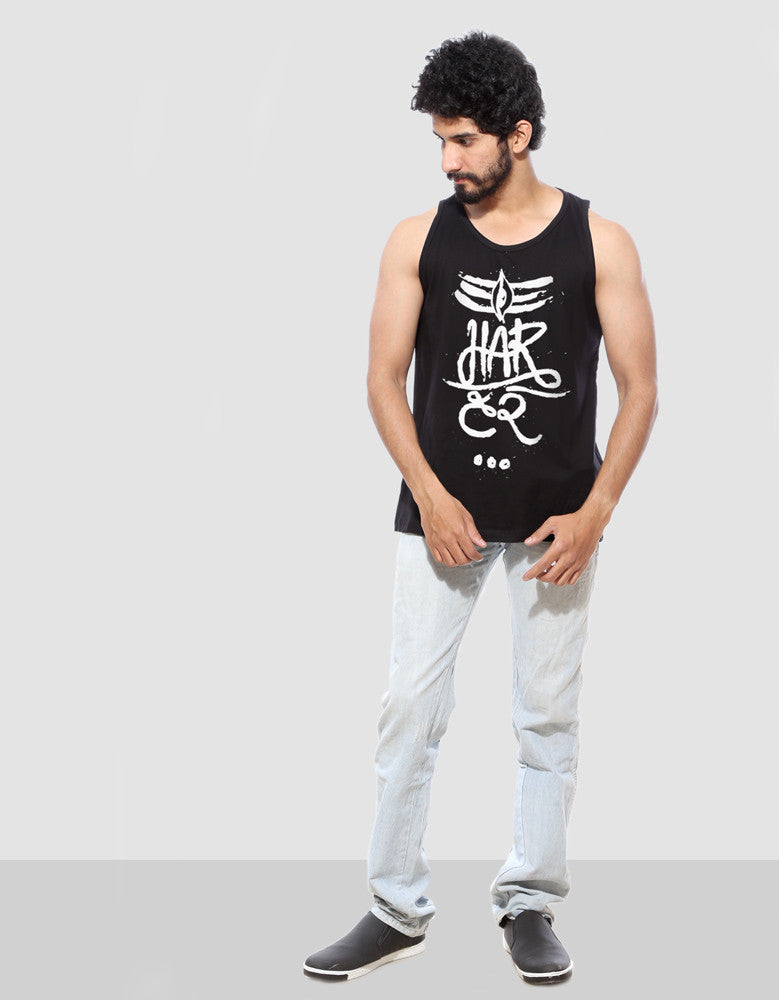 Har Har - Black Men's Sleeveless Cool Vest Model Full Front View