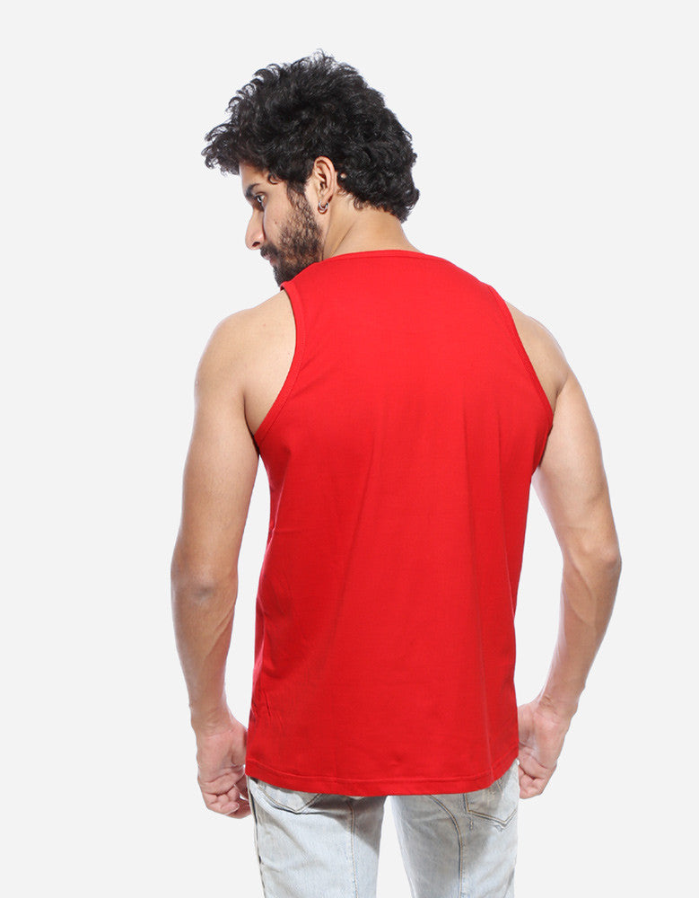 Hip Hop - Red Men's Music Sleeveless Printed vest Model Back View