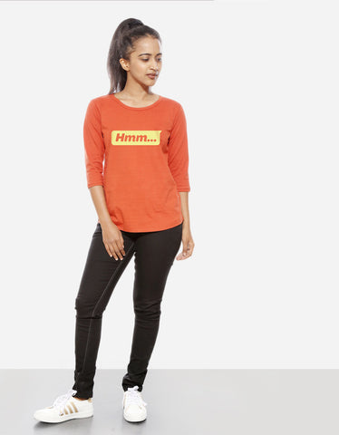 Hmm - Rust Orange Women's 3/4 Sleeve Trendy T Shirt Model Full Front View