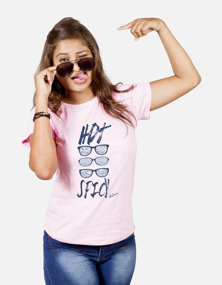 Hot Spicy - Pink Women's Random Short Sleeve Graphic T Shirt Model Front View