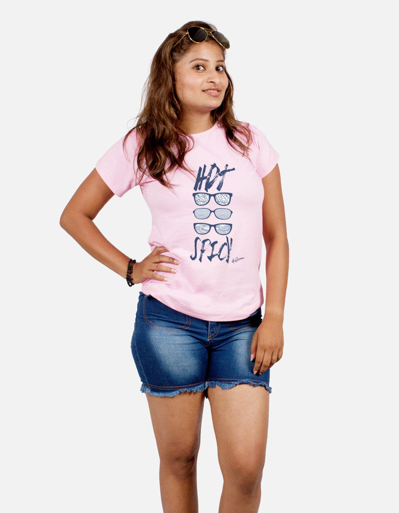 Hot Spicy - Pink Women's Random Short Sleeve Graphic T Shirt Model Front Half View