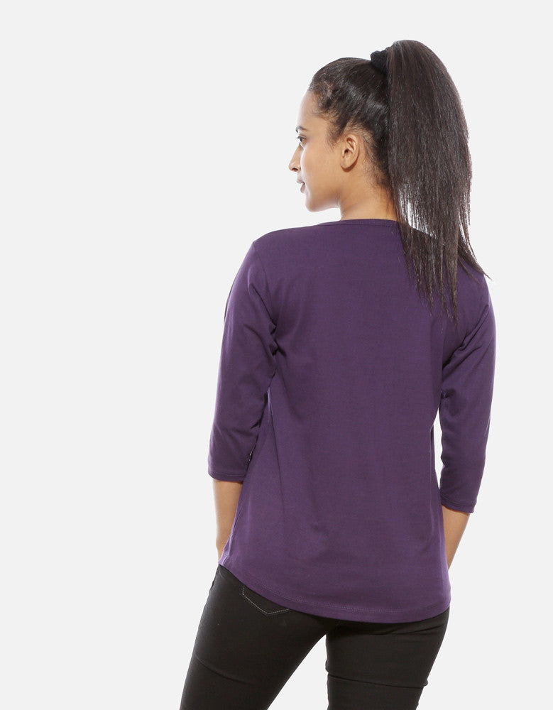 Hunter - Brinjal Women's 3/4 Sleeve Cool T Shirt Model Back View