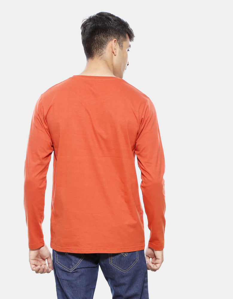 Hunter - Rust Orange Men's Full Sleeve Graphic T Shirt Model Back View