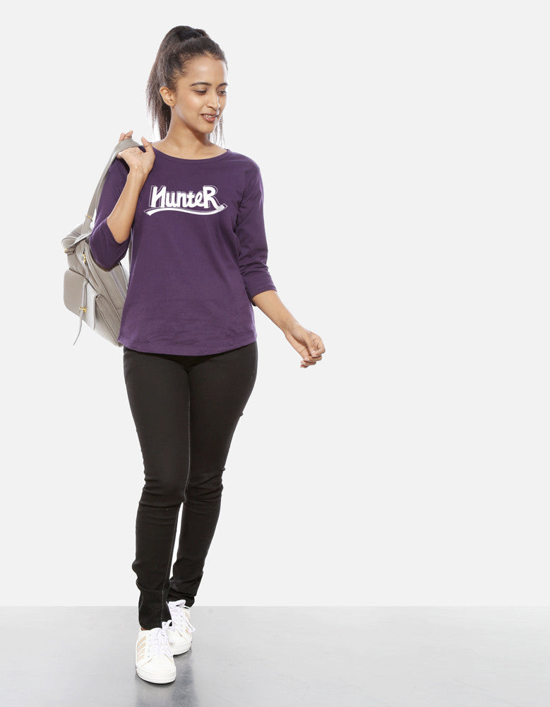 Hunter - Brinjal Women's 3/4 Sleeve Cool T Shirt Model Full Front View