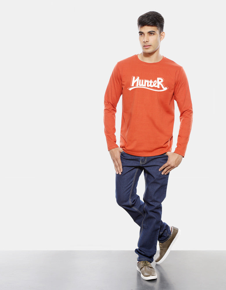 Hunter - Rust Orange Men's Full Sleeve Graphic T Shirt Model Full Front View