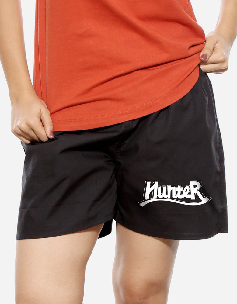 Hunter - Black Women's Trendy Boxer Short Model Front View
