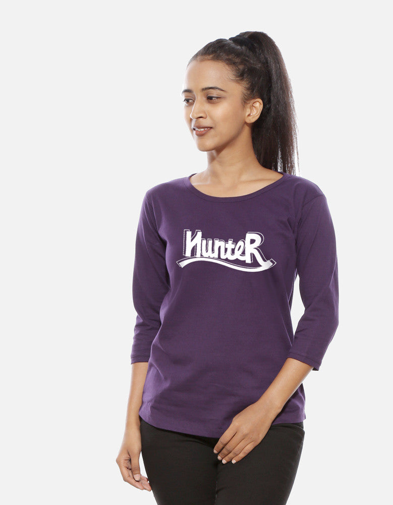 Hunter - Brinjal Women's 3/4 Sleeve Cool T Shirt Model Front View