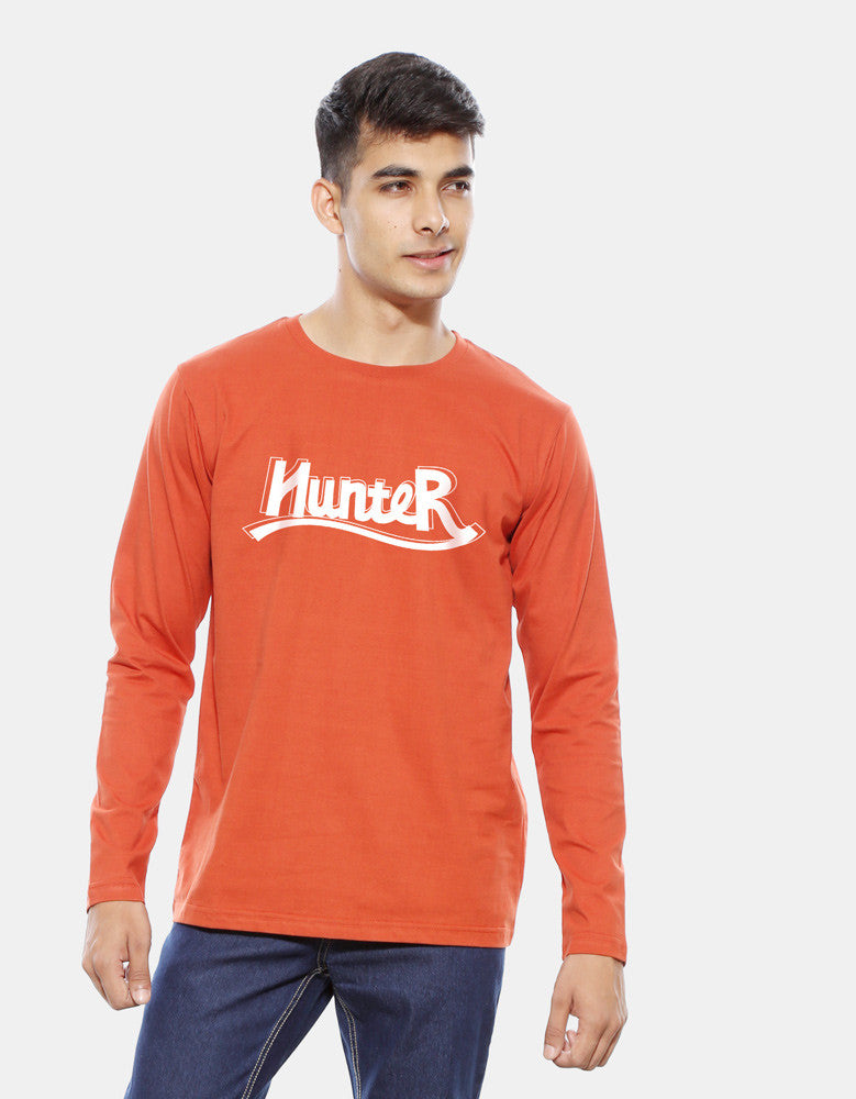 Hunter - Rust Orange Men's Full Sleeve Graphic T Shirt Model Front View