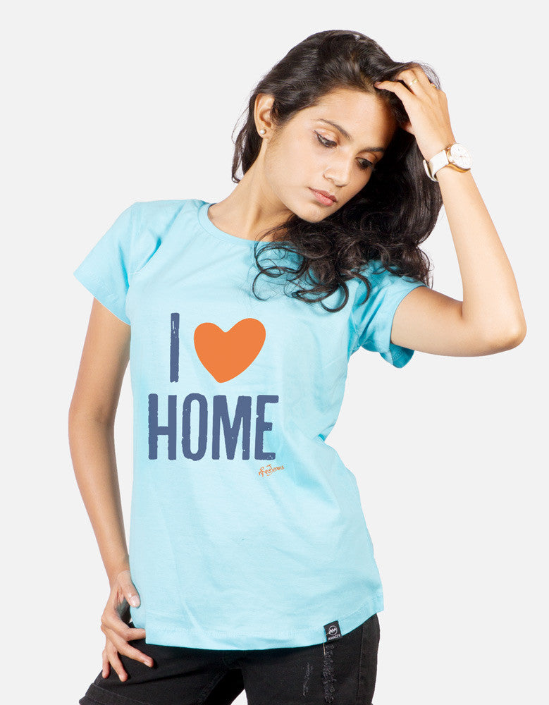 I Love Home - Sky Blue Women's Random Short Sleeve Graphic T Shirt Model Front View