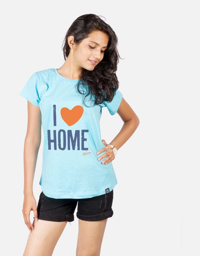 I Love Home - Sky Blue Women's Random Short Sleeve Graphic T Shirt Model Front Half View