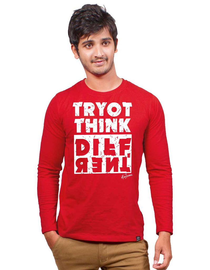 Try To Think - Red Full Men's Sleeve Printed T Shirt Model Front View