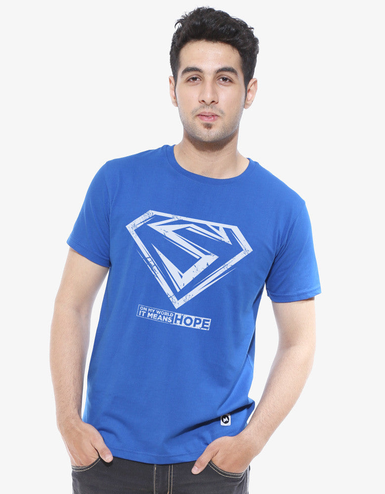 Hope -  Royal Blue Men's Superhero Half Sleeve Cool T Shirt (Model front view)