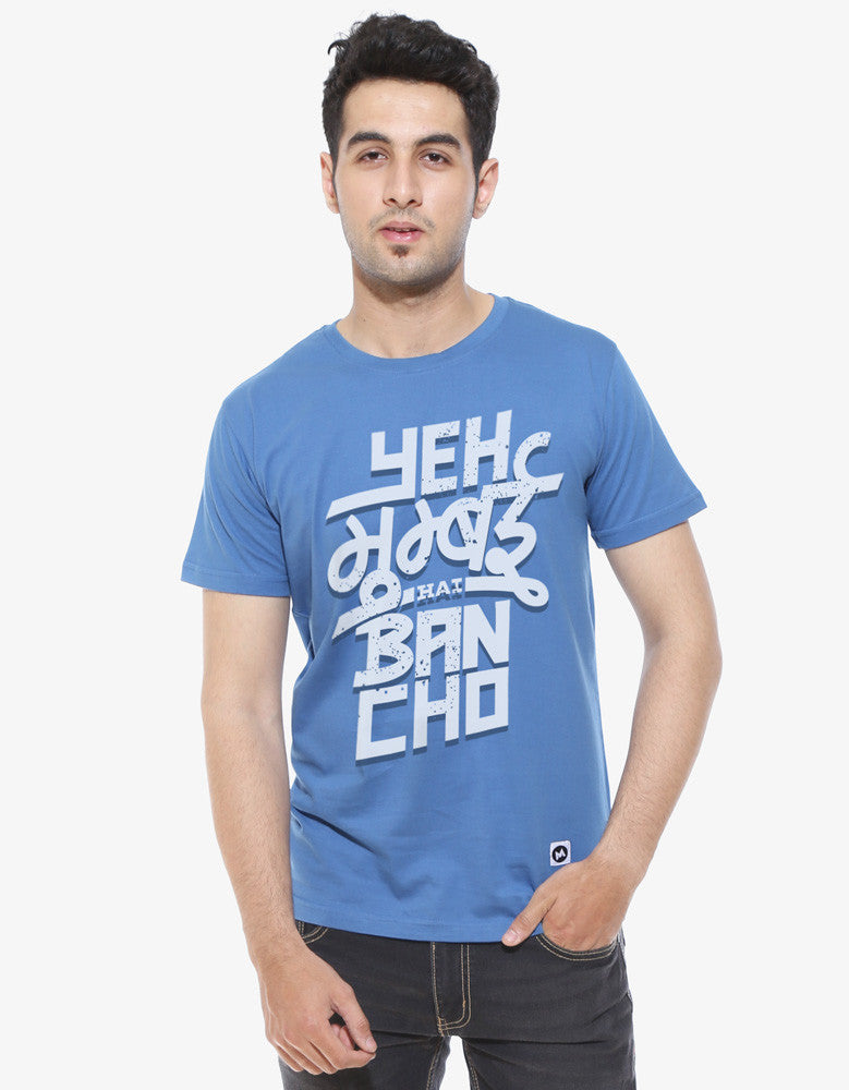 Yeh Mumbai Hai - Dark Shadow Blue Men's Bancho Half Sleeve Graphic T Shirt Model Front View