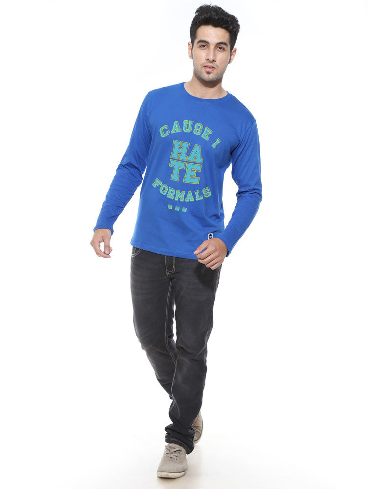 Hate Formals - Royal Blue Men's Full Sleeve Cool T Shirt Model Full Front View