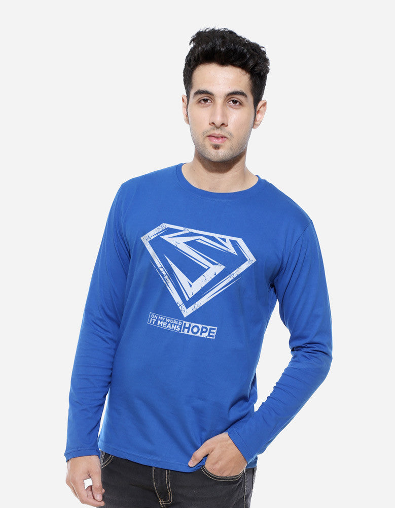 Hope - Royal Blue Men's Superhero Full Sleeve Cool T Shirt Model Front View