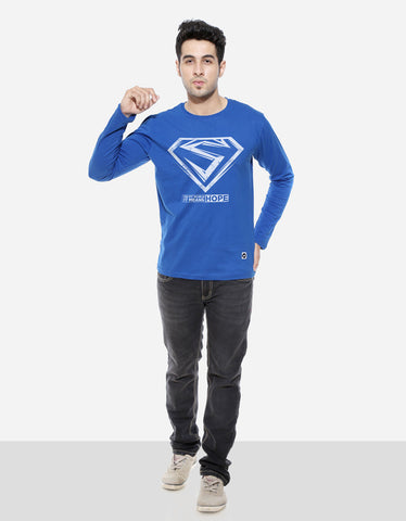 Hope - Royal Blue Men's Superhero Full Sleeve Cool T Shirt Model Full Front View