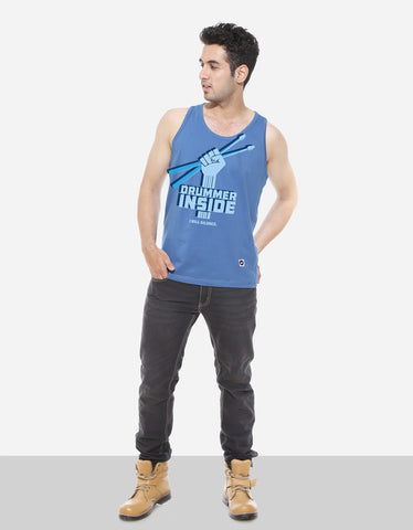 Drummer Inside - Dark Shadow Blue Men's Music Sleeveless Graphic T Shirt Model Full Front View
