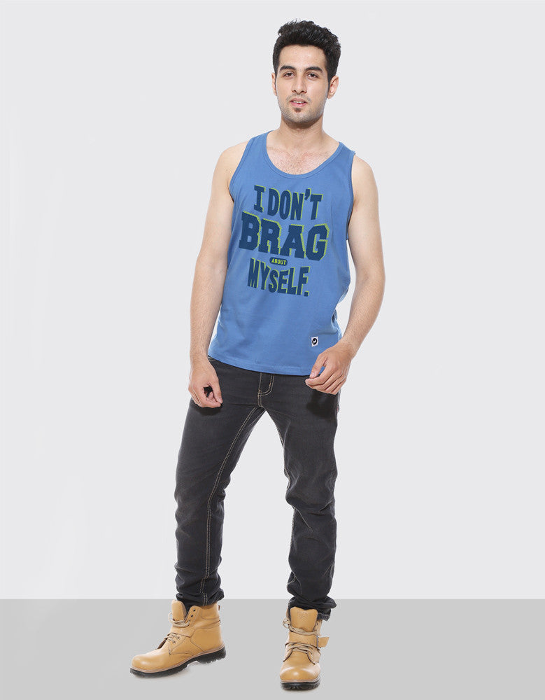 I Don't Brag About Myself - Dark Shadow Blue Men's Sleeveless Printed Vest Model Full Front View
