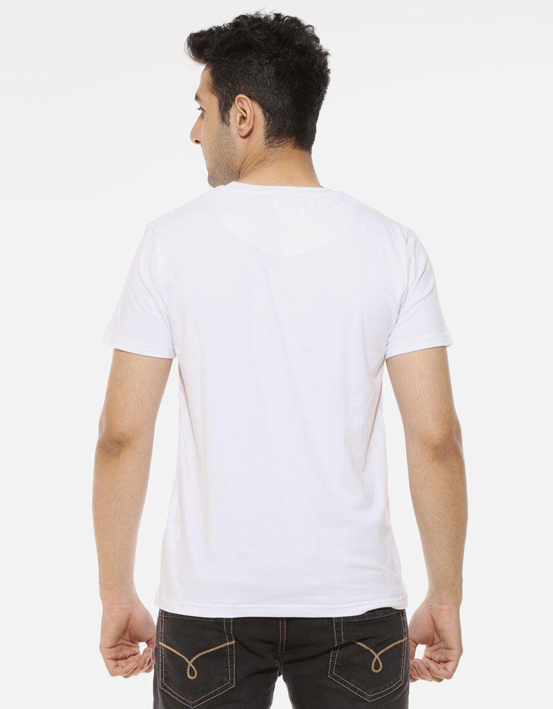 All I Need Is 90ML - White Men's Beer Half Sleeve Graphic T Shirt Model Back View