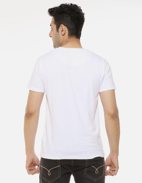 Make It Large -  White Men's Beer Half Sleeve Printed T Shirt Model Back View