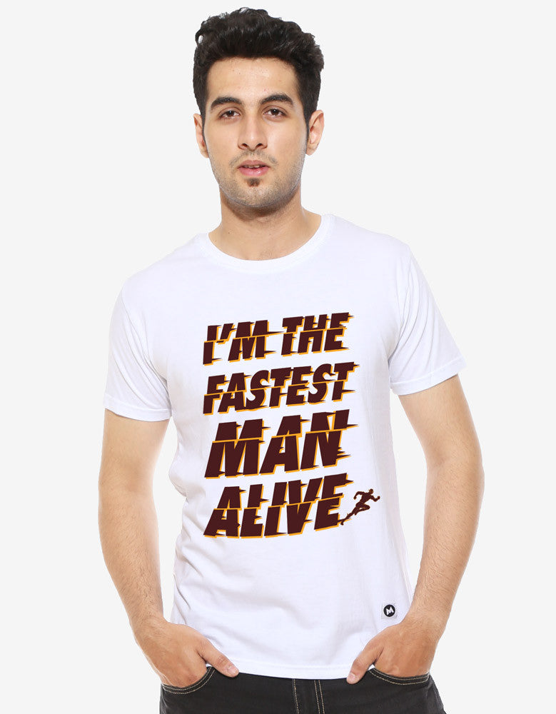 Fastest Man -  White Men's Superhero Half Sleeve Graphic T Shirt (Model front view)