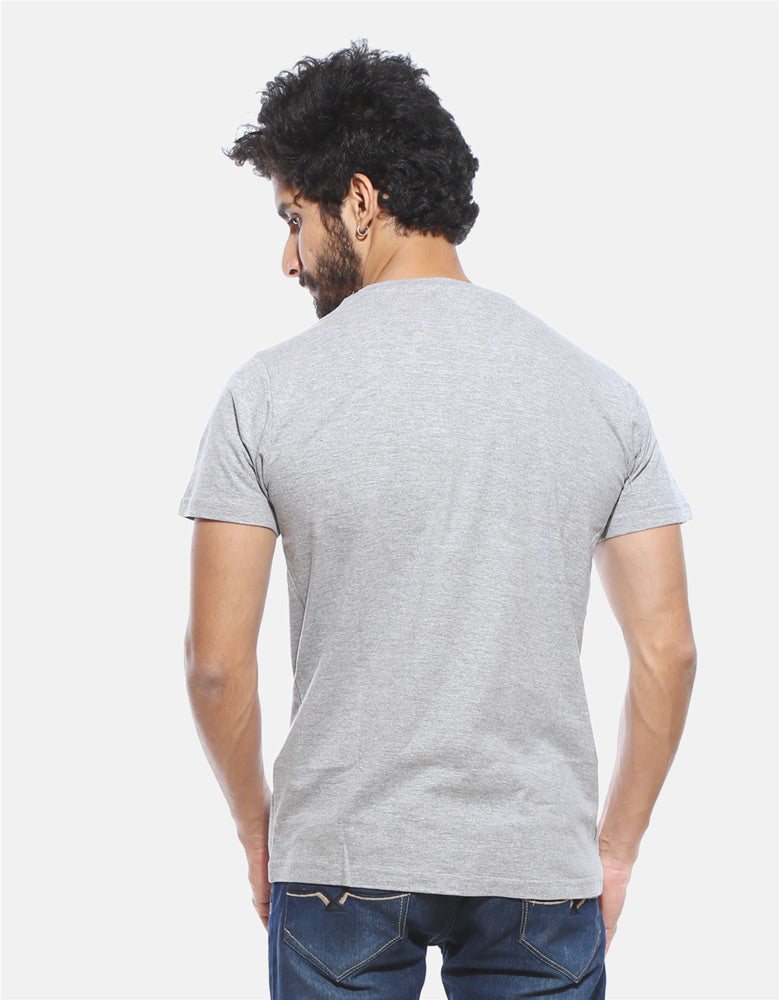 I Drink and I know Things - Melange Grey Graphic Men's Half Sleeves T-Shirt Model Back View