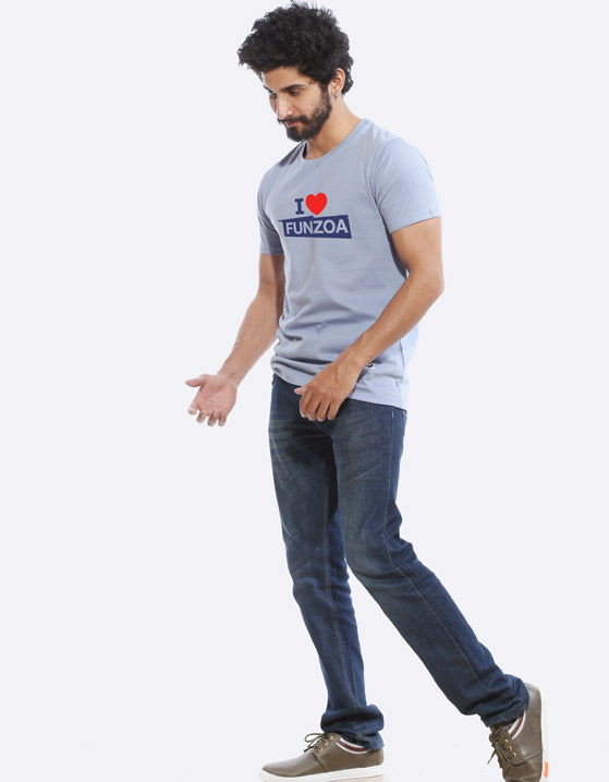 I Love Funzoa Men's Yale Blue Graphic T Shirt by AMAZZY