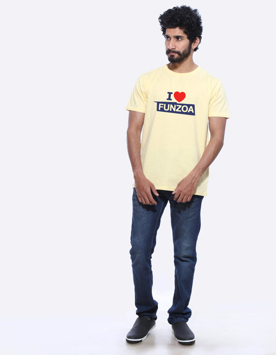 I Love Funzoa Men's Lemon Yellow Graphic T Shirt by AMAZZY