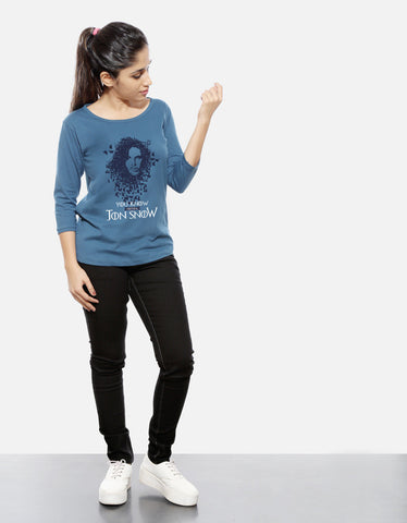 Jon Snow - Iris Blue Women's GOT 3/4 Sleeve Trendy T Shirt Model Full Front View