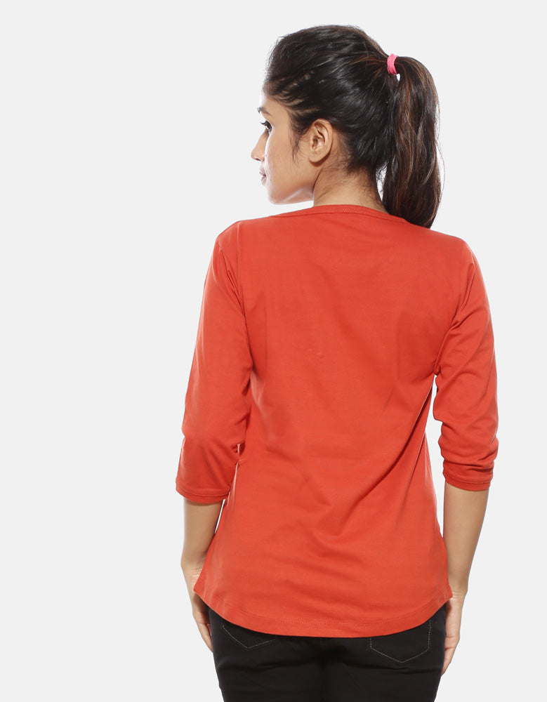 Killer - Rust Orange Minimal Design Women's 3/4 Sleeve T Shirt