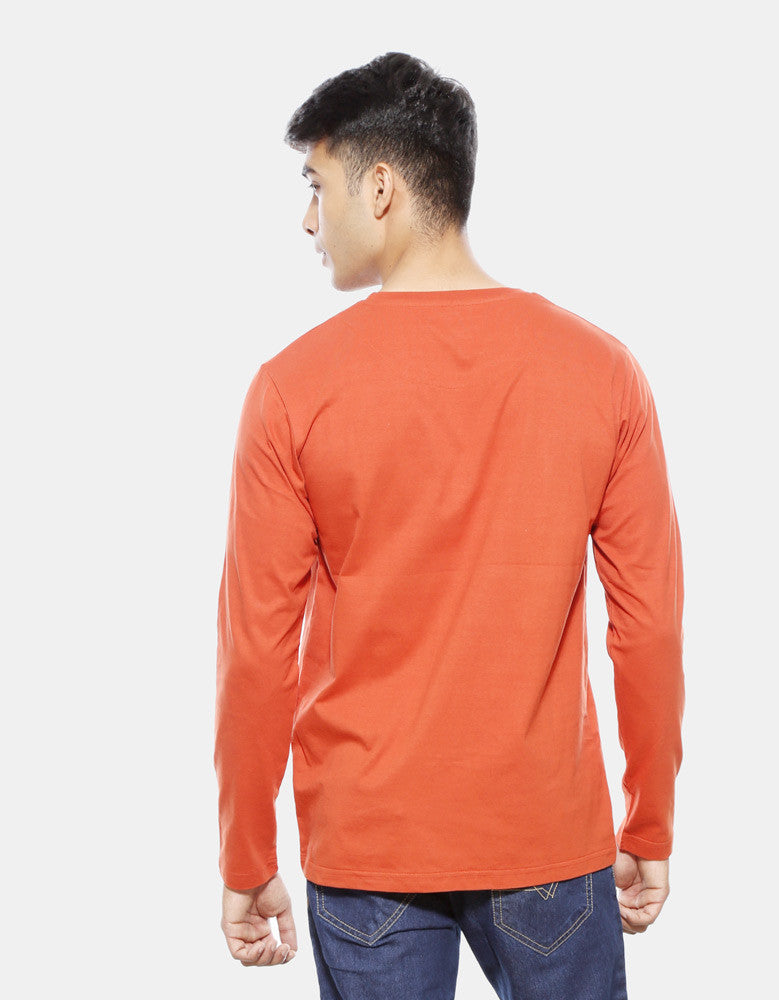 Keep Snoozing - Rust Orange Men's Full Sleeve Printed T Shirt Model Back View