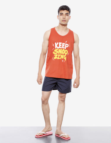 Keep Snoozing - Rust Orange Men's Sleeveless Printed Vest Model Full Front View