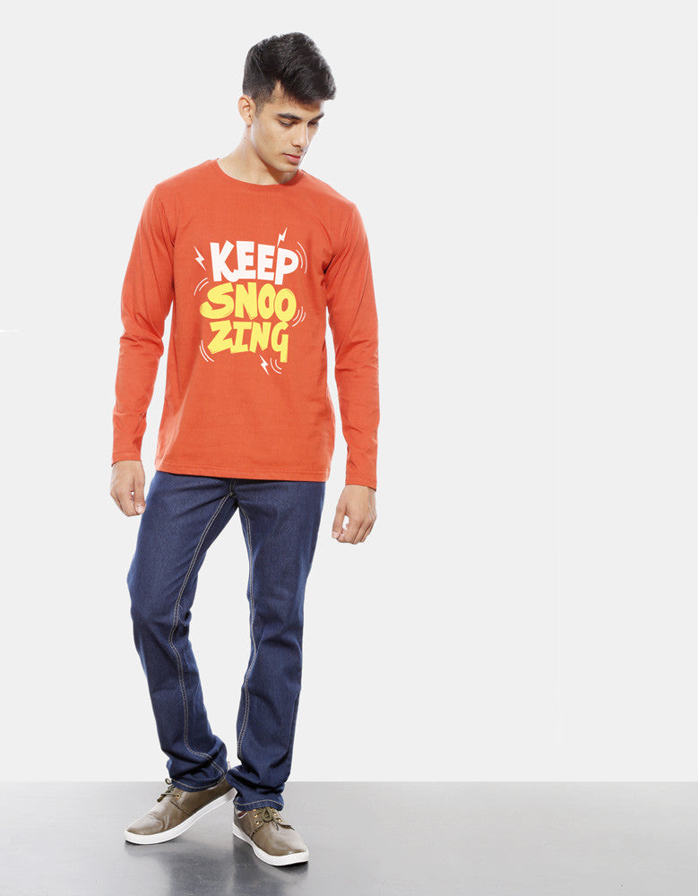 Keep Snoozing - Rust Orange Men's Full Sleeve Printed T Shirt Model Full Front View