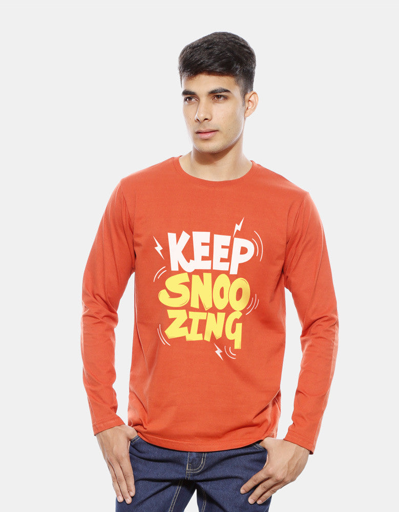 Keep Snoozing - Rust Orange Men's Full Sleeve Printed T Shirt Model Front View