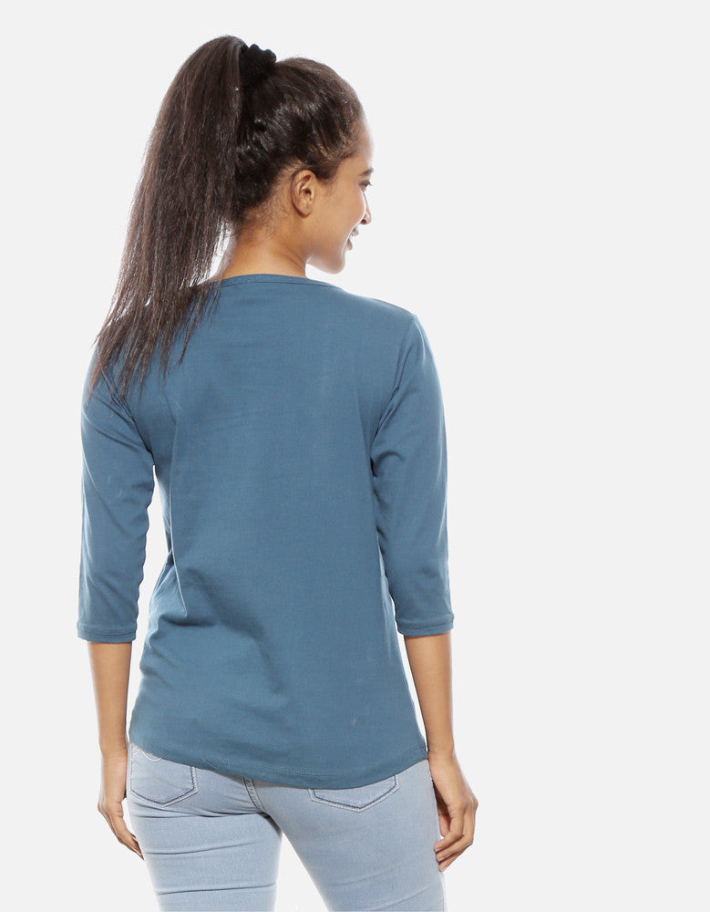 Killer - Iris Blue Women's 3/4 Sleeve Trendy T Shirt Model Back View