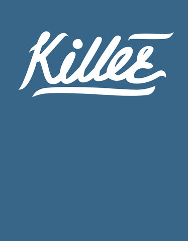 Killer - Iris Blue Women's 3/4 Sleeve Trendy T Shirt Design View
