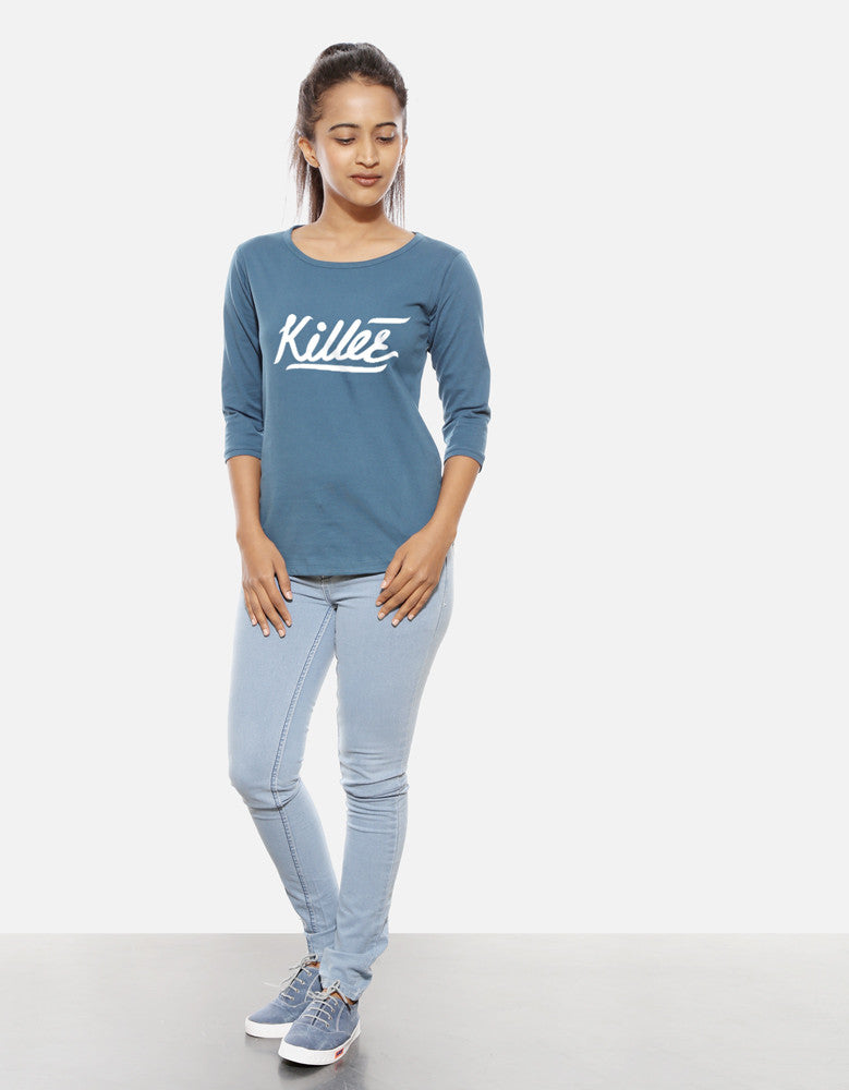 Killer - Iris Blue Women's 3/4 Sleeve Trendy T Shirt Model Full Front View