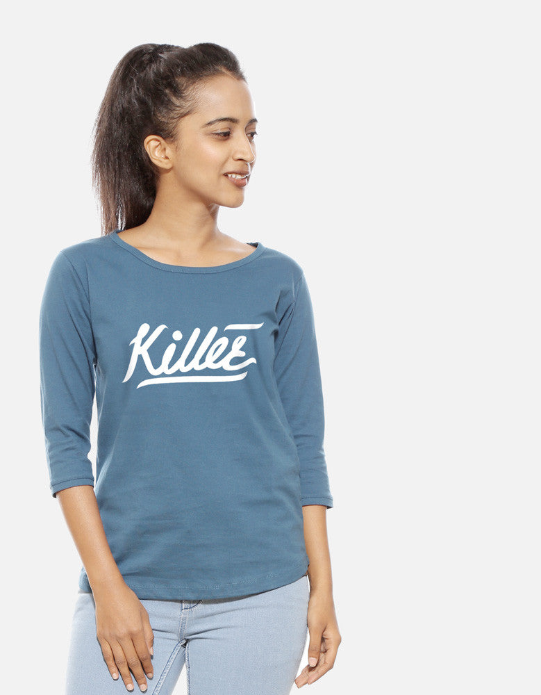 Killer - Iris Blue Women's 3/4 Sleeve Trendy T Shirt Model Front View