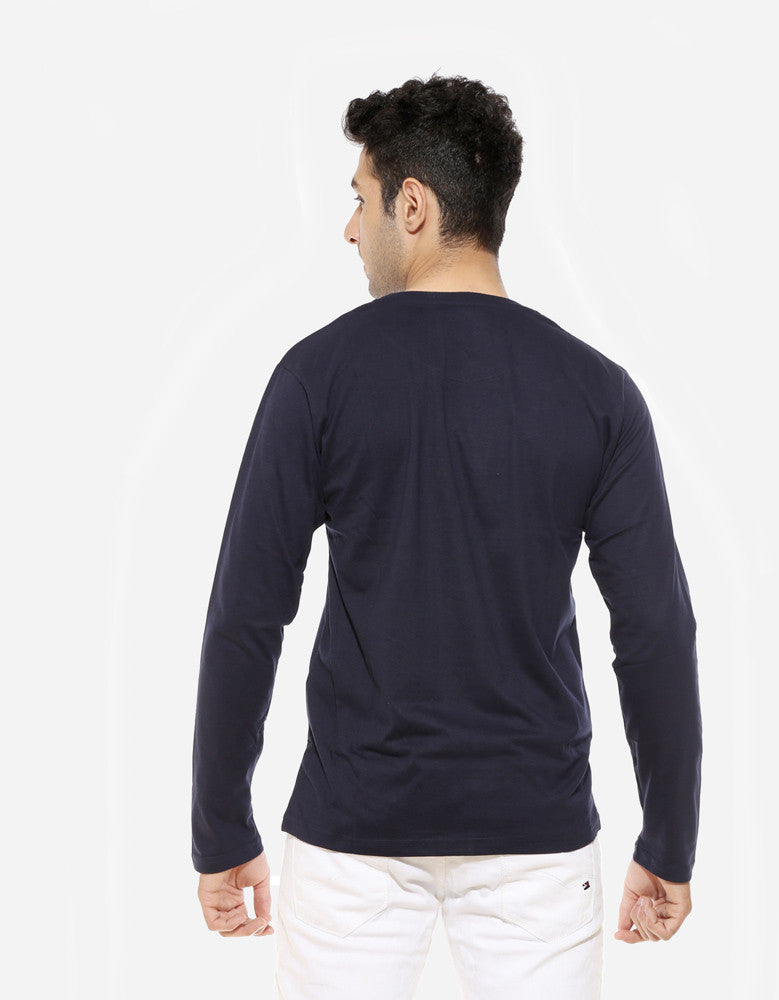 King In The North - Navy Blue Men's GOT  Full Sleeve Trendy T Shirt (Model back view)
