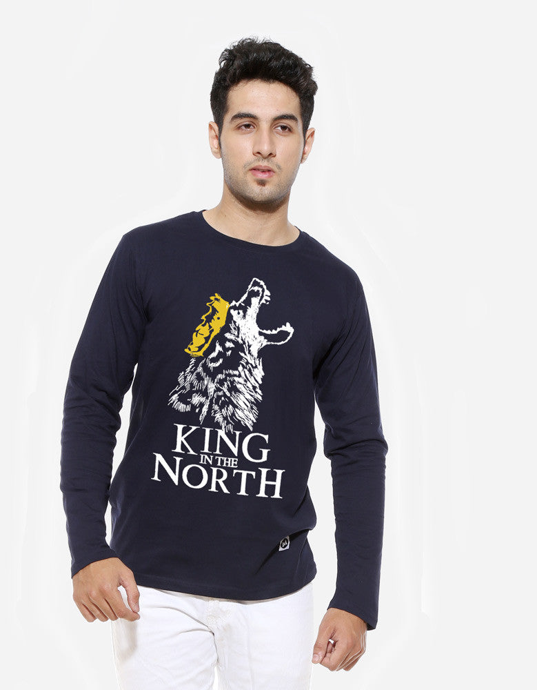 King In The North - Navy Blue Men's GOT  Full Sleeve Trendy T Shirt (Model front view)