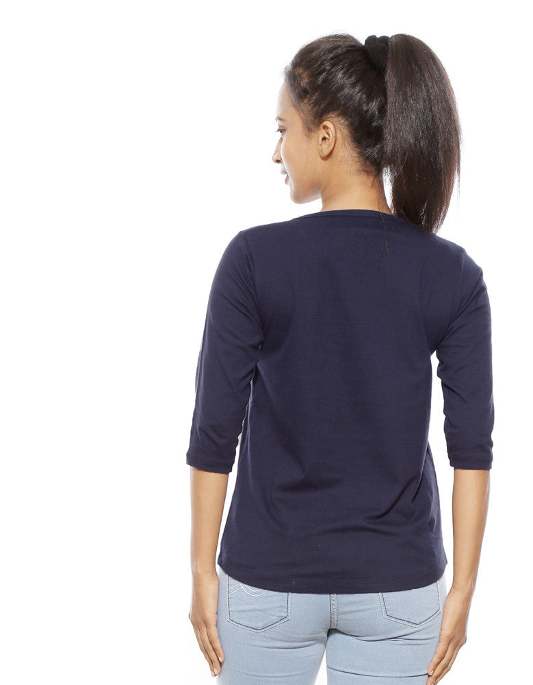 King In The North - Navy Blue Women's GOT 3/4 Sleeve Trendy T Shirt Model Back View