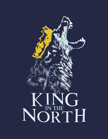 King In The North - Navy Blue Women's GOT 3/4 Sleeve Trendy T Shirt Design View