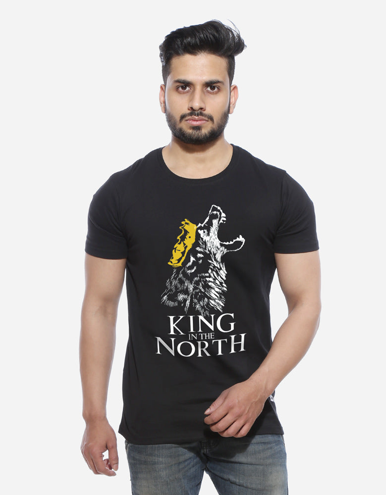 King In The North - Black GOT Printed Men's Half Sleeve T Shirt