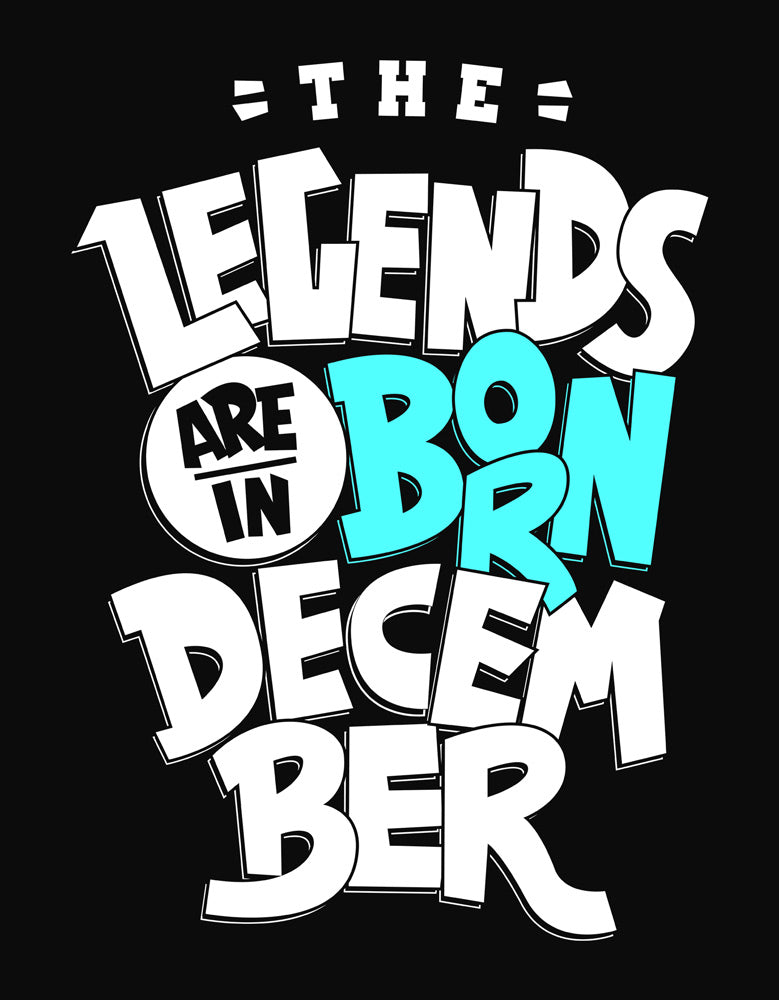 Legends Are Born In December - Black (Blue) Trendy Men's Half Sleeve T shirt