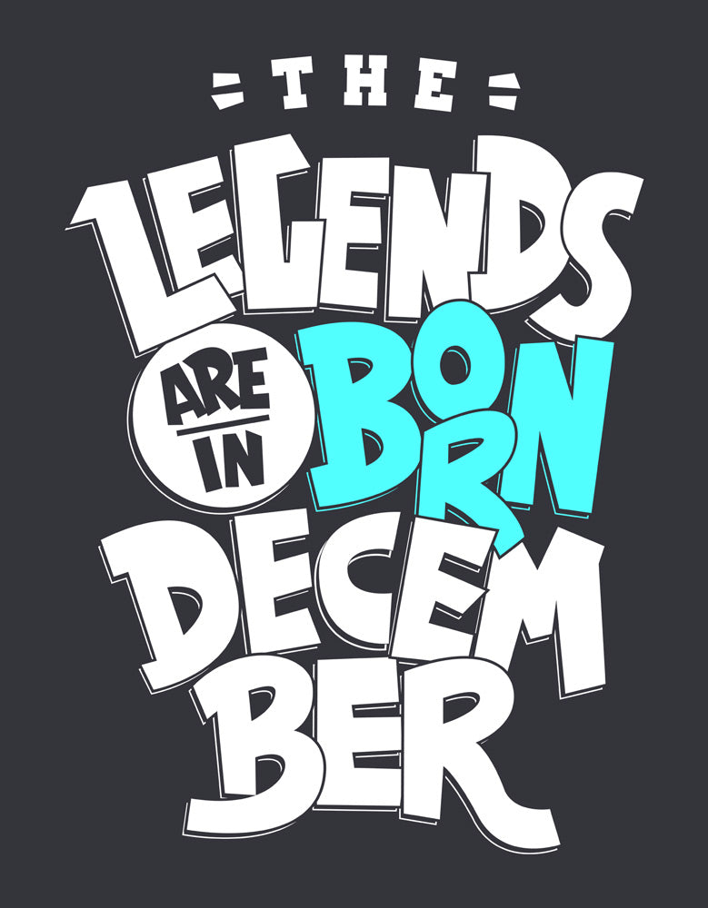 Legends Are Born In December - Charcoal Grey (Blue) Trendy Men's Full Sleeve T Shirt