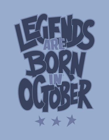 Legends Born In October - Yale Blue Trendy Men's Half Sleeve T shirt Design View