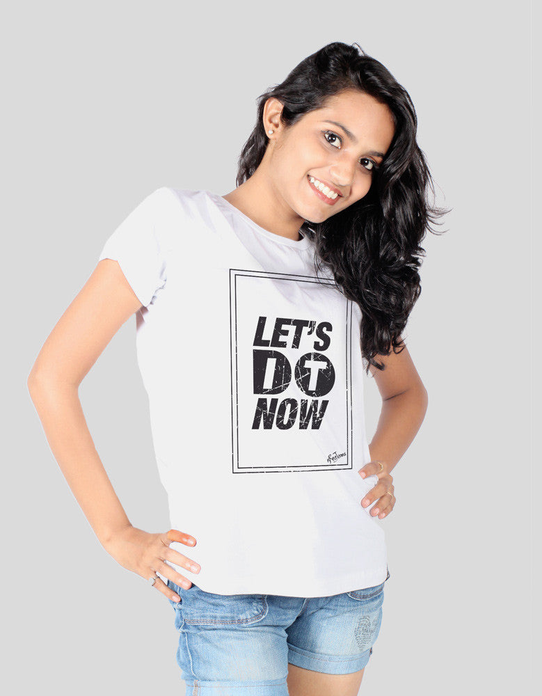 Let's Do It - White Women's Random Short Sleeve Graphic T Shirt Model Front View