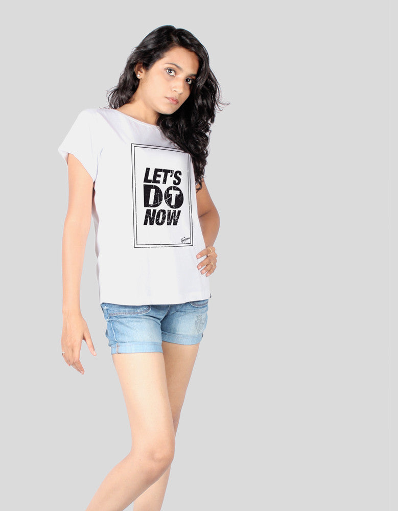 Let's Do It - White Women's Random Short Sleeve Graphic T Shirt Model Front Half View