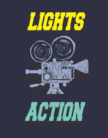 Lights Camera Action - Navy Blue Men's Full Sleeve Printed T Shirt Design View