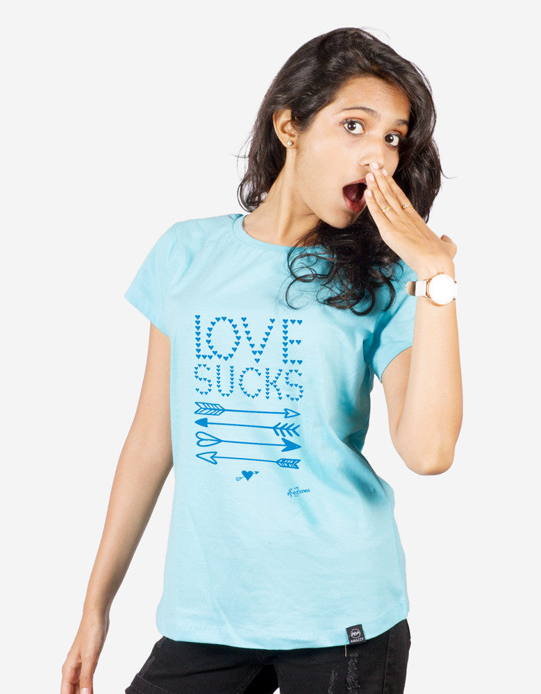 Love Sucks -  Sky Blue Women's Random Short Sleeve Printed T Shirt Model Front View